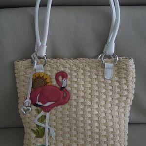 Brighton Flamingo Straw shoulder bag